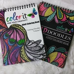Two Adult Doodles Coloring Books